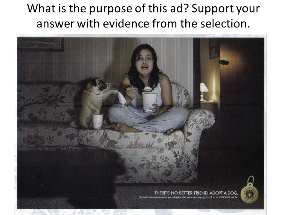 What is the purpose of this ad Support your answer with evidence from the selection.