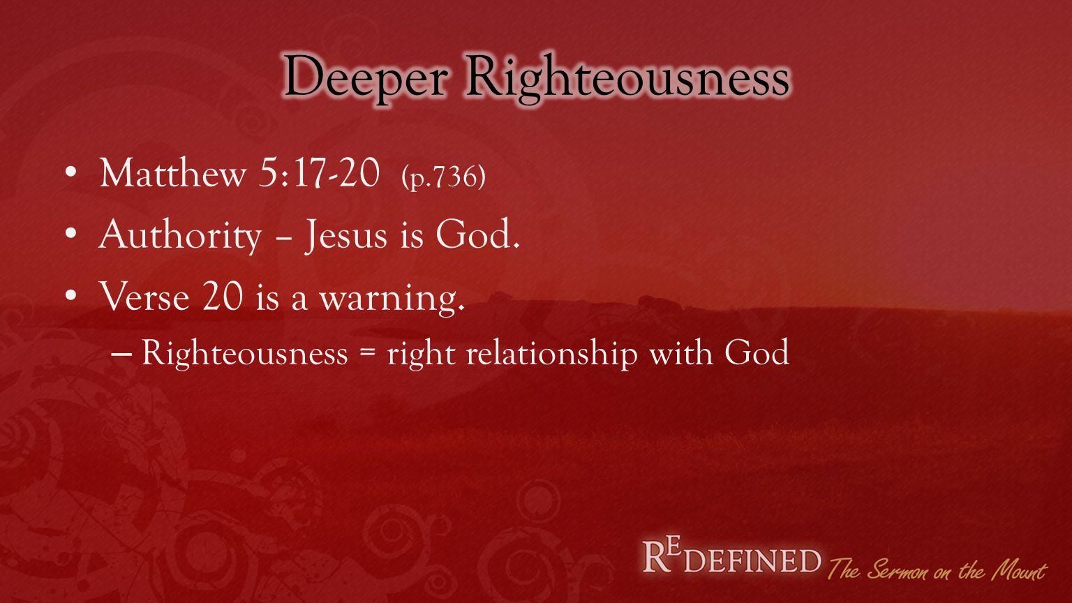 Murder/Anger – 5:21-26 Adultery/Lust – 5:27-31 Divorce – 5:31-32 Oaths – 5:33-37 Revenge – 5:38-42 Loving enemies – 5:43-48