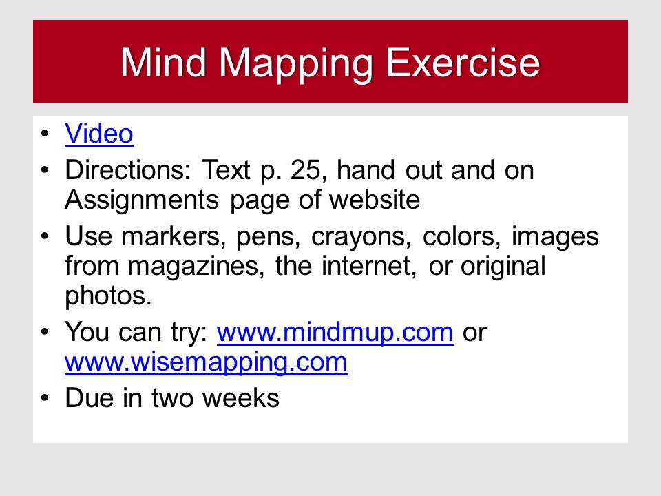 Mind Mapping ExerciseMind Mapping Exercise Video Directions: Text p.