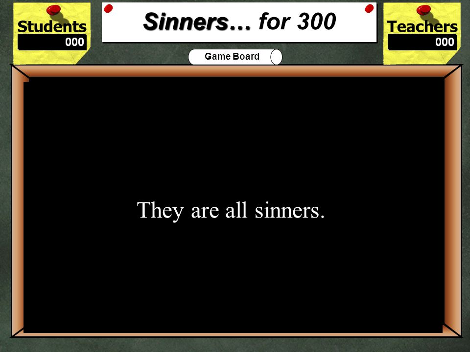 StudentsTeachers Game Board The main message of Sinners in the Hands of an Angry God 200 Salvation is gained through Christ.
