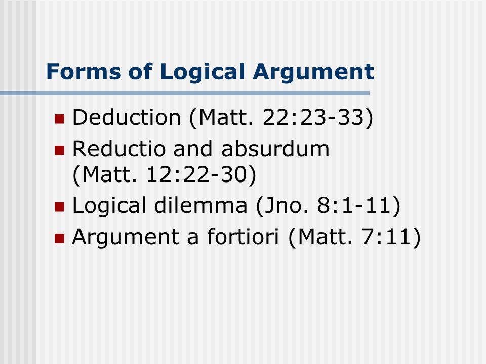 Forms of Logical Argument Deduction (Matt. 22:23-33) Reductio and absurdum (Matt.