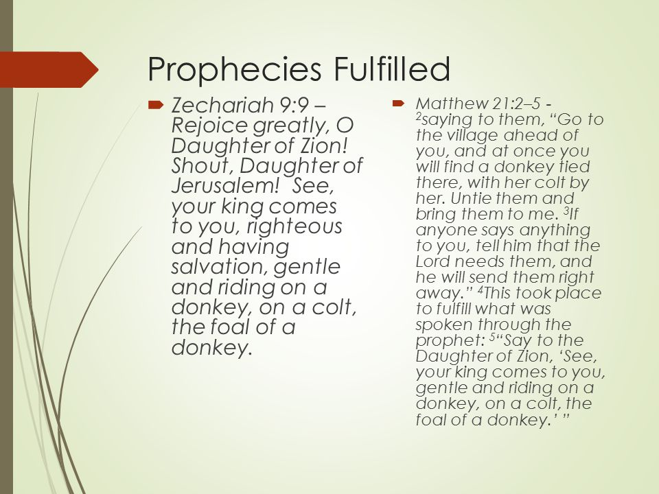 Prophecies Fulfilled  Zechariah 9:9 – Rejoice greatly, O Daughter of Zion.