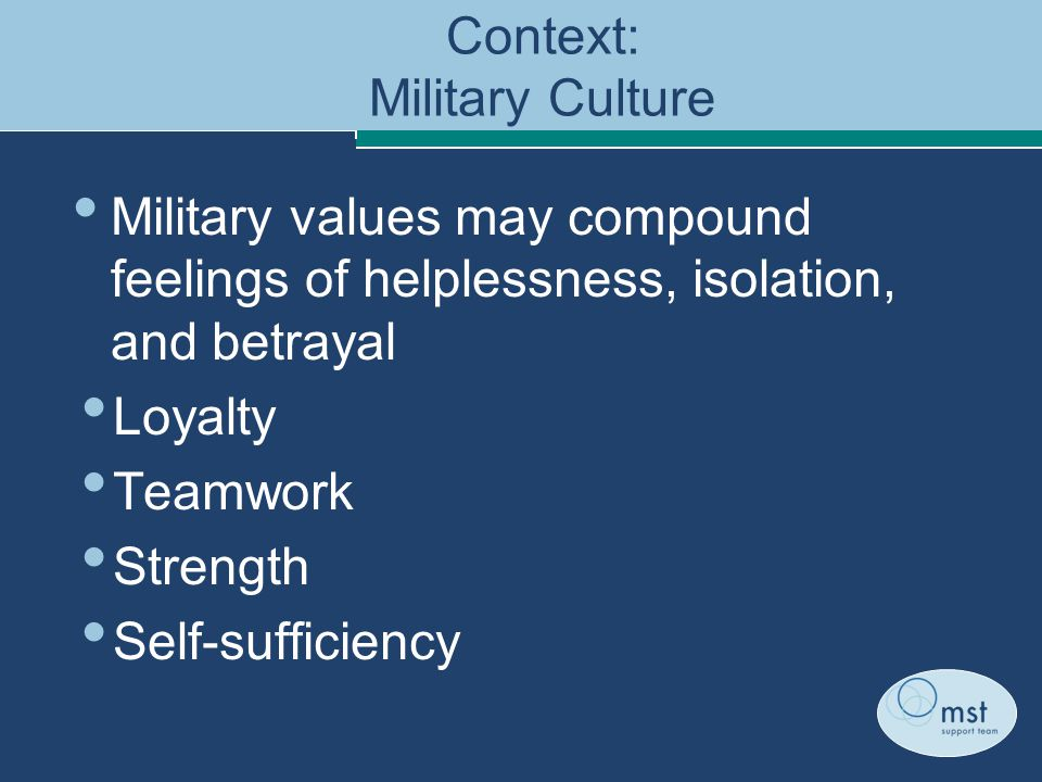 Context: Military Culture Military values may compound feelings of helplessness, isolation, and betrayal Loyalty Teamwork Strength Self-sufficiency