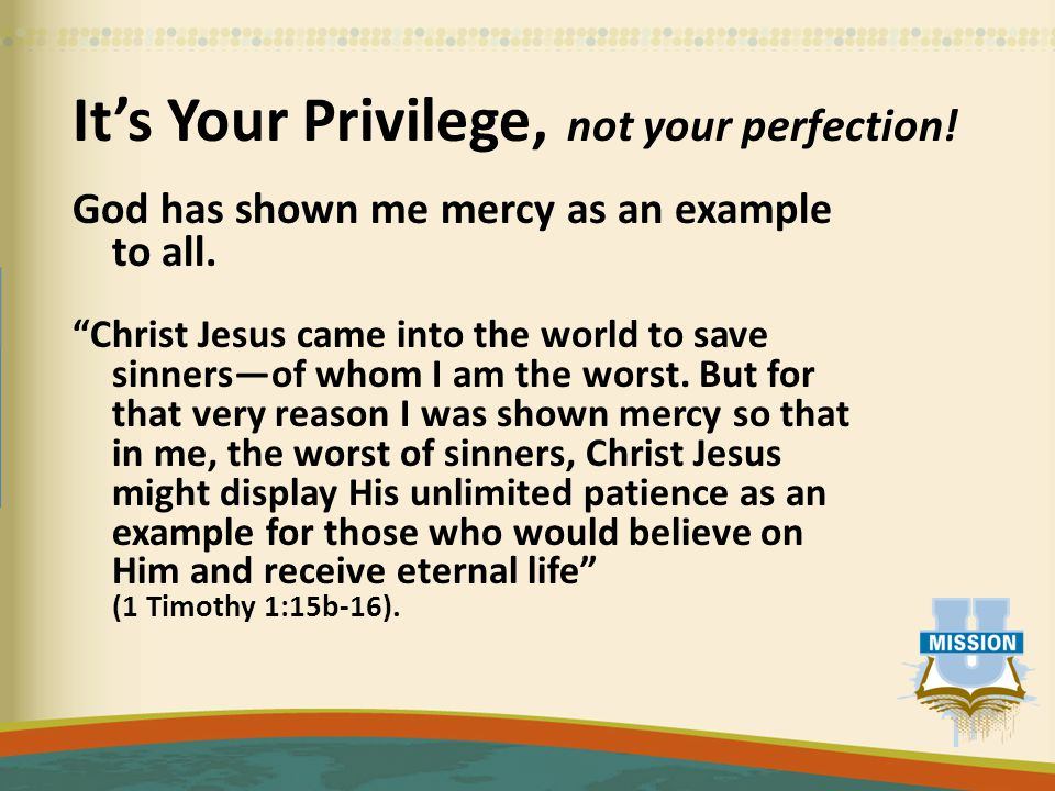 It's Your Privilege, not your perfection. God has shown me mercy as an example to all.