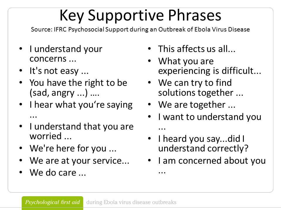 Key Supportive Phrases Source: IFRC Psychosocial Support during an Outbreak of Ebola Virus Disease I understand your concerns...