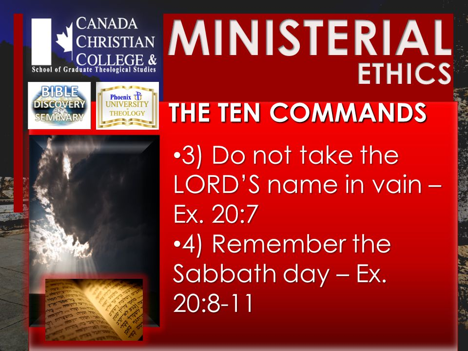 THE TEN COMMANDS 3) Do not take the LORD'S name in vain – Ex.