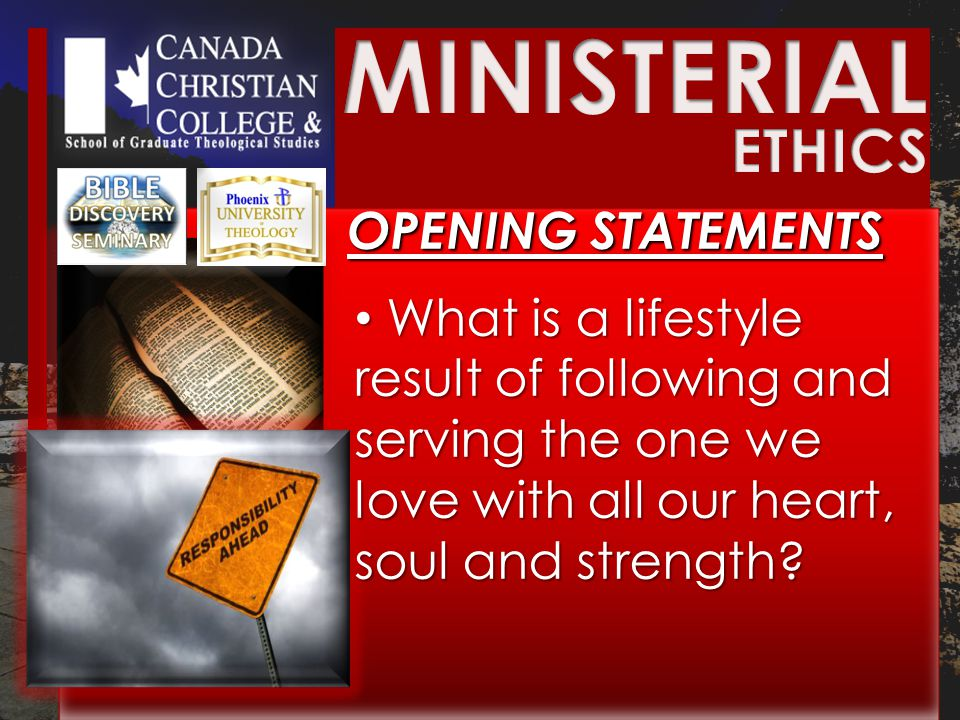 BIBLICAL ETHICS BIBLICAL ETHICS Biblical ethics CANNOT tolerate SELFISHNESS in person or in collective ministry.