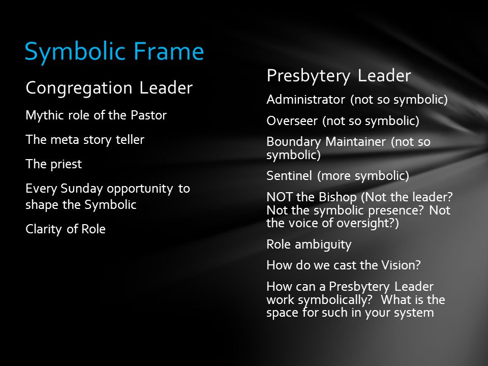 Presbytery Leader Administrator (not so symbolic) Overseer (not so symbolic) Boundary Maintainer (not so symbolic) Sentinel (more symbolic) NOT the Bishop (Not the leader.