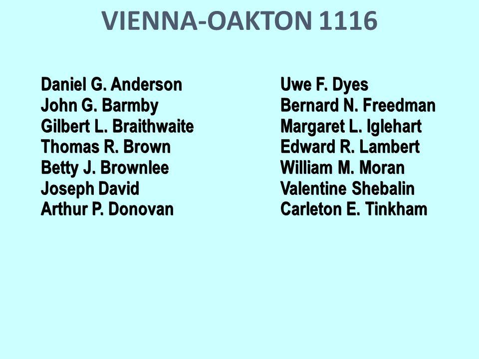 VIENNA-OAKTON 1116 Daniel G. AndersonUwe F. Dyes John G.