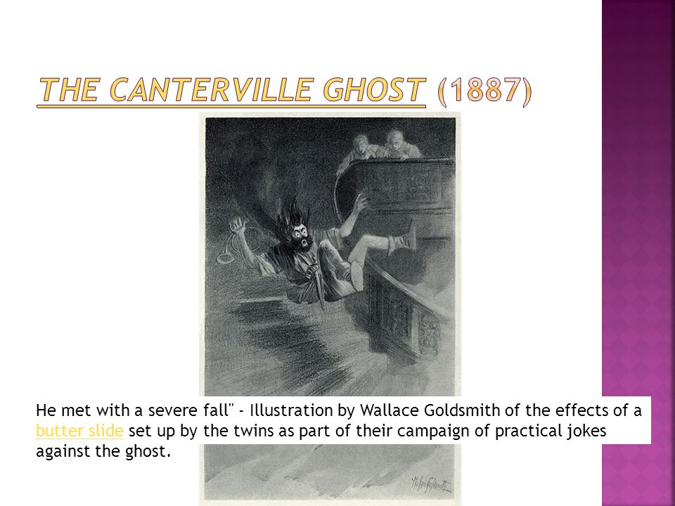 He met with a severe fall - Illustration by Wallace Goldsmith of the effects of a butter slide set up by the twins as part of their campaign of practical jokes against the ghost.