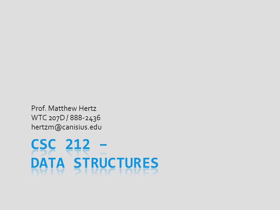 Prof. Matthew Hertz WTC 207D / 888-2436 hertzm@canisius.edu