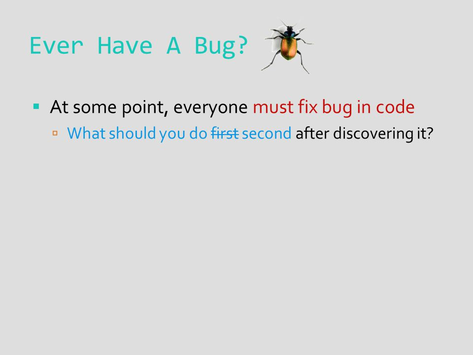 Ever Have A Bug.