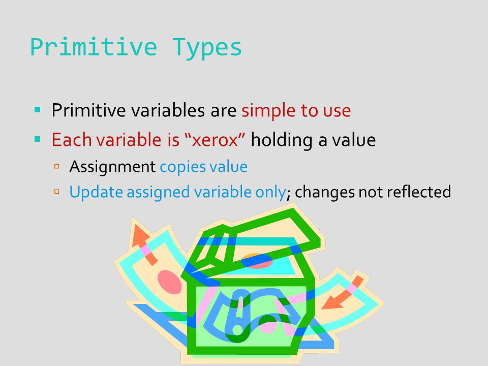Primitive Types  Primitive variables are simple to use  Each variable is xerox holding a value  Assignment copies value  Update assigned variable only; changes not reflected
