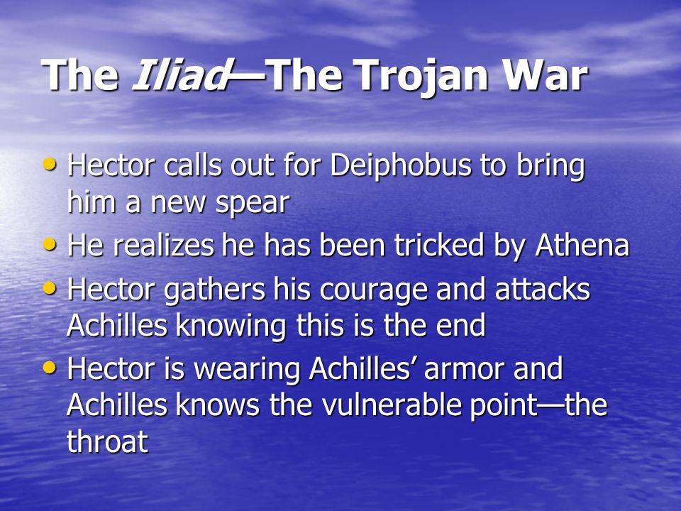 The Iliad—The Trojan War Achilles talks more trash to Hector Achilles talks more trash to Hector The duel is on The duel is on Achilles throws his onl