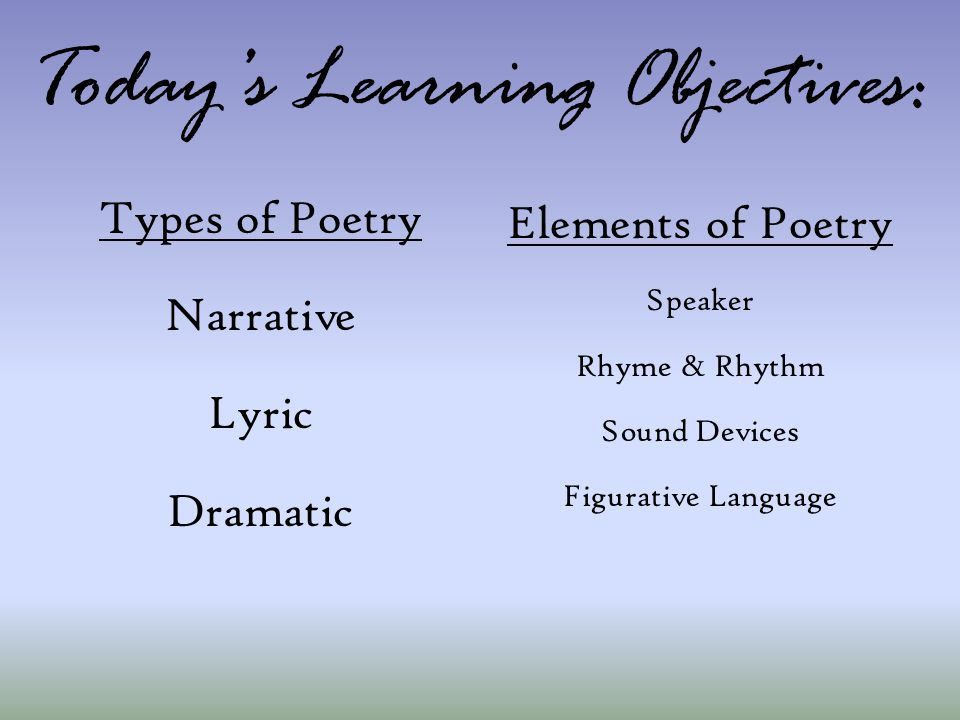 Today's Learning Objectives: Types of Poetry Narrative Lyric Dramatic Elements of Poetry Speaker Rhyme & Rhythm Sound Devices Figurative Language