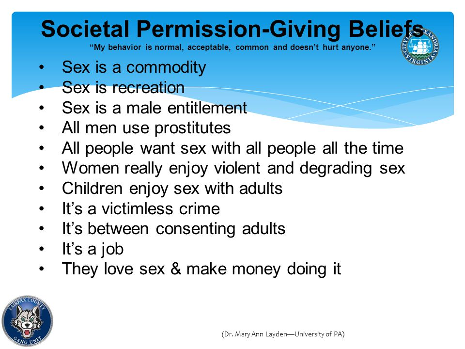 Societal Permission-Giving Beliefs My behavior is normal, acceptable, common and doesn't hurt anyone. Sex is a commodity Sex is recreation Sex is a male entitlement All men use prostitutes All people want sex with all people all the time Women really enjoy violent and degrading sex Children enjoy sex with adults It's a victimless crime It's between consenting adults It's a job They love sex & make money doing it (Dr.