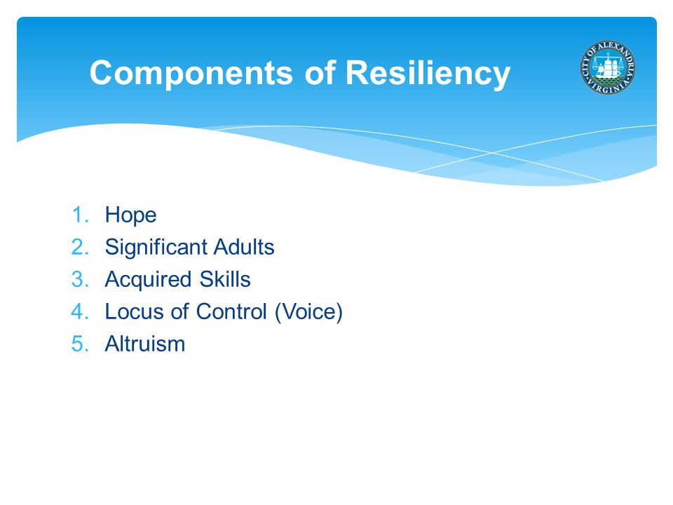 1.Hope 2.Significant Adults 3.Acquired Skills 4.Locus of Control (Voice) 5.Altruism Components of Resiliency