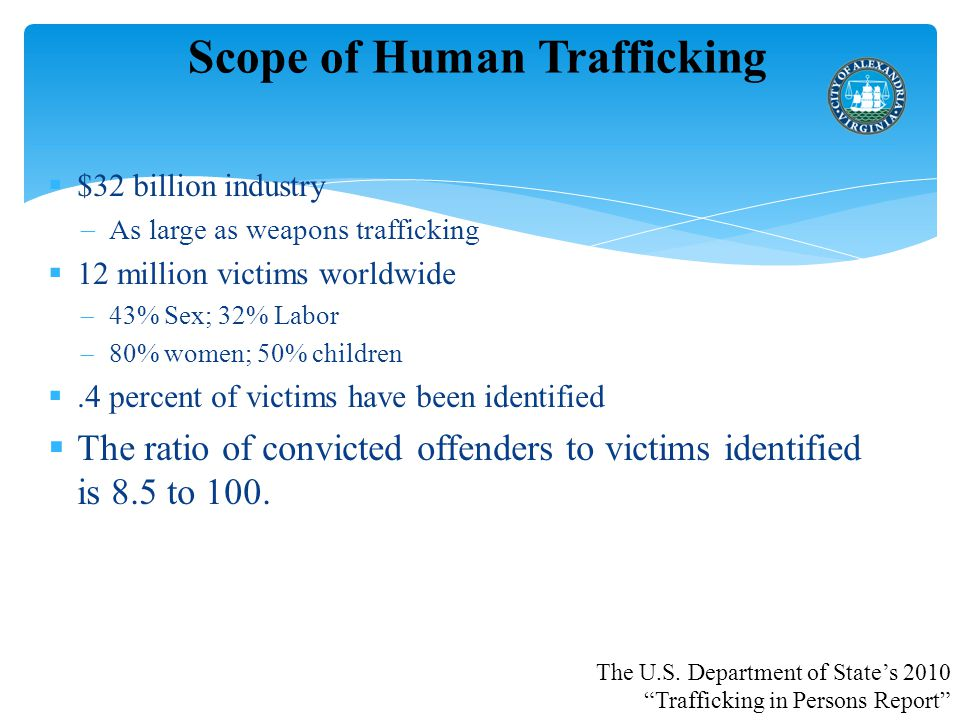 Scope of Human Trafficking  $32 billion industry  As large as weapons trafficking  12 million victims worldwide  43% Sex; 32% Labor  80% women; 50% children .4 percent of victims have been identified  The ratio of convicted offenders to victims identified is 8.5 to 100.