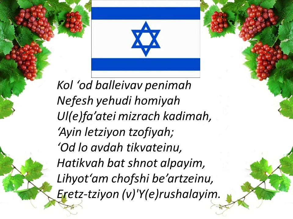 Kol 'od balleivav penimah Nefesh yehudi homiyah Ul(e)fa'atei mizrach kadimah, 'Ayin letziyon tzofiyah; 'Od lo avdah tikvateinu, Hatikvah bat shnot alpayim, Lihyot'am chofshi be'artzeinu, Eretz-tziyon (v) Y(e)rushalayim.