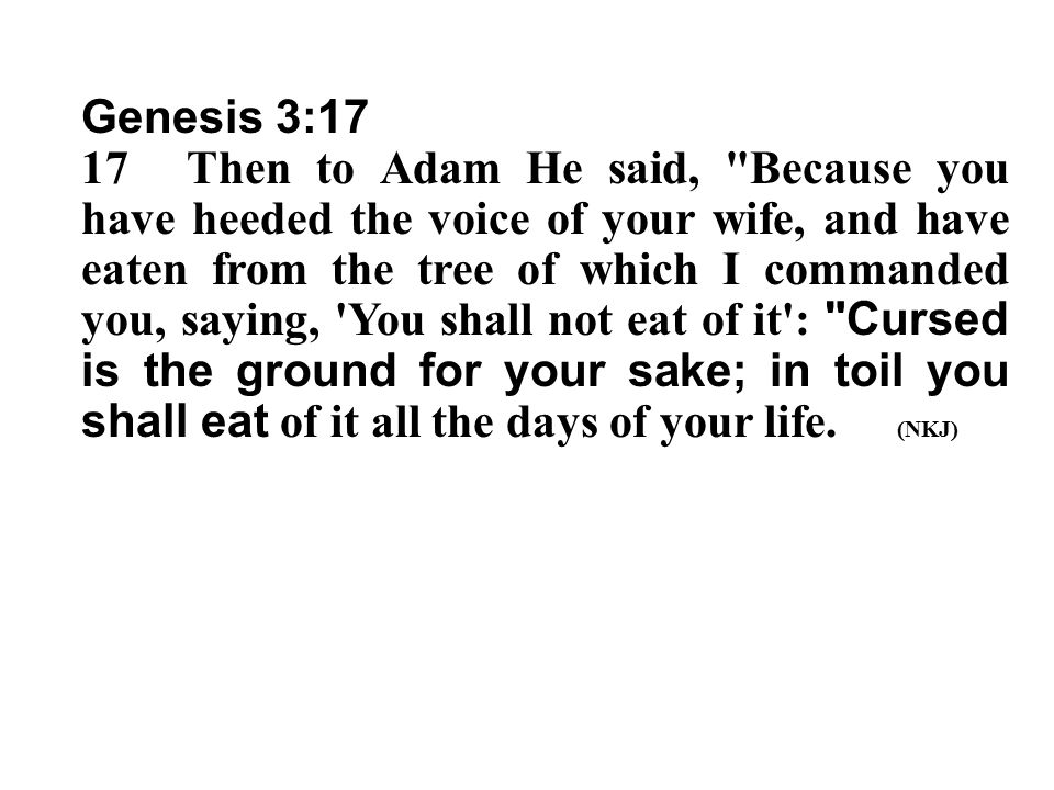 Genesis 3:17 17Then to Adam He said,