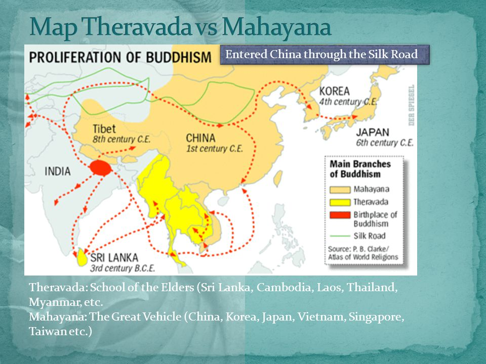 Entered China through the Silk Road Theravada: School of the Elders (Sri Lanka, Cambodia, Laos, Thailand, Myanmar, etc.