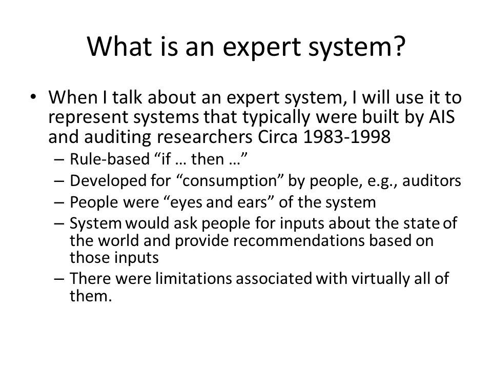 What is an expert system.