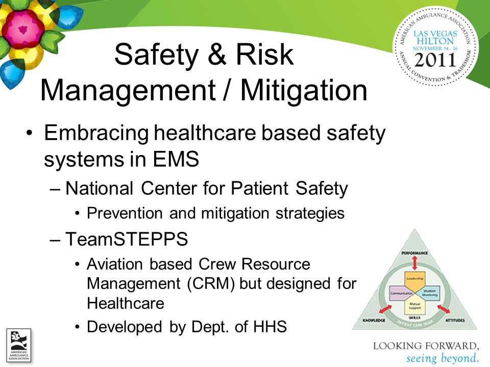 Embracing healthcare based safety systems in EMS –National Center for Patient Safety Prevention and mitigation strategies –TeamSTEPPS Aviation based Crew Resource Management (CRM) but designed for Healthcare Developed by Dept.