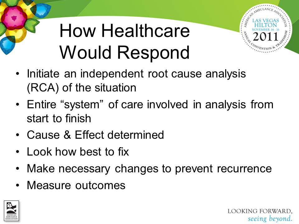 How Healthcare Would Respond Initiate an independent root cause analysis (RCA) of the situation Entire system of care involved in analysis from start to finish Cause & Effect determined Look how best to fix Make necessary changes to prevent recurrence Measure outcomes