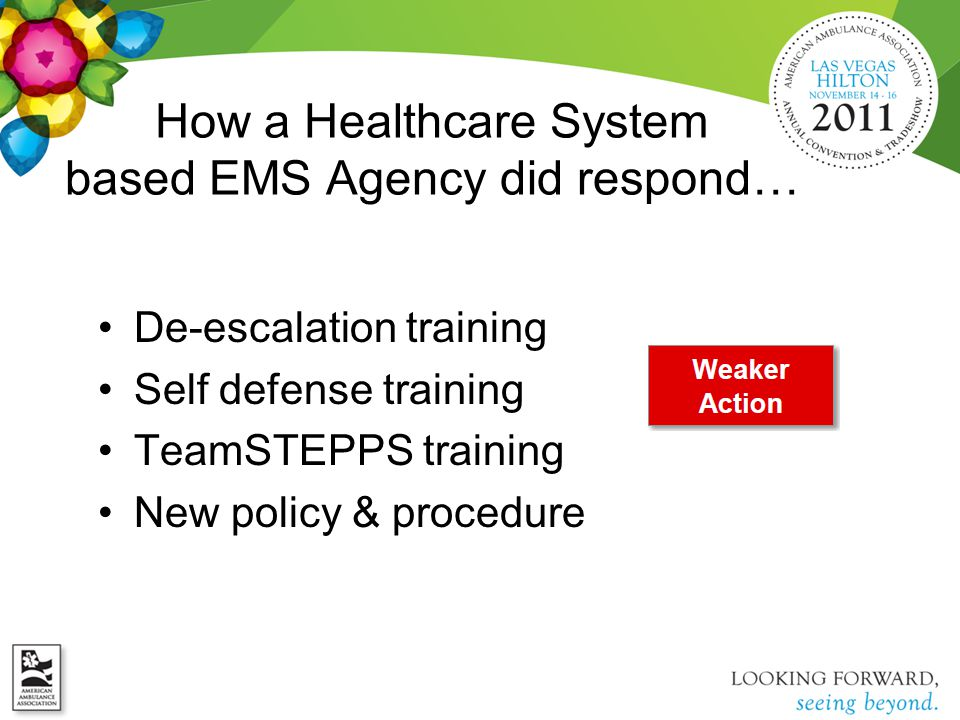 How a Healthcare System based EMS Agency did respond… De-escalation training Self defense training TeamSTEPPS training New policy & procedure