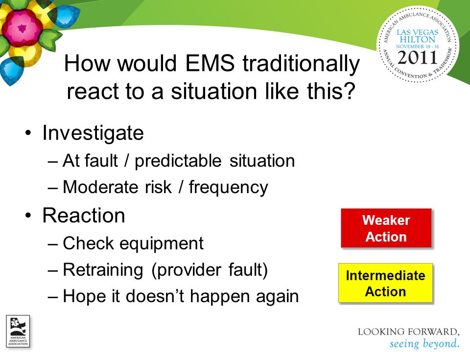 How would EMS traditionally react to a situation like this? Investigate –At fault / predictable situation –Moderate risk / frequency Reaction –Check e