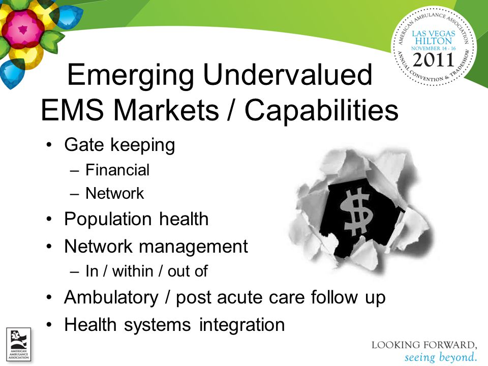 Emerging Undervalued EMS Markets / Capabilities Gate keeping –Financial –Network Population health Network management –In / within / out of Ambulatory
