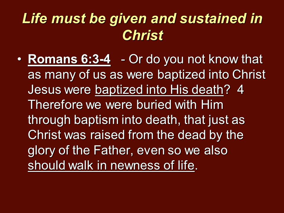 Life must be given and sustained in Christ Romans 6:3-4 - Or do you not know that as many of us as were baptized into Christ Jesus were baptized into