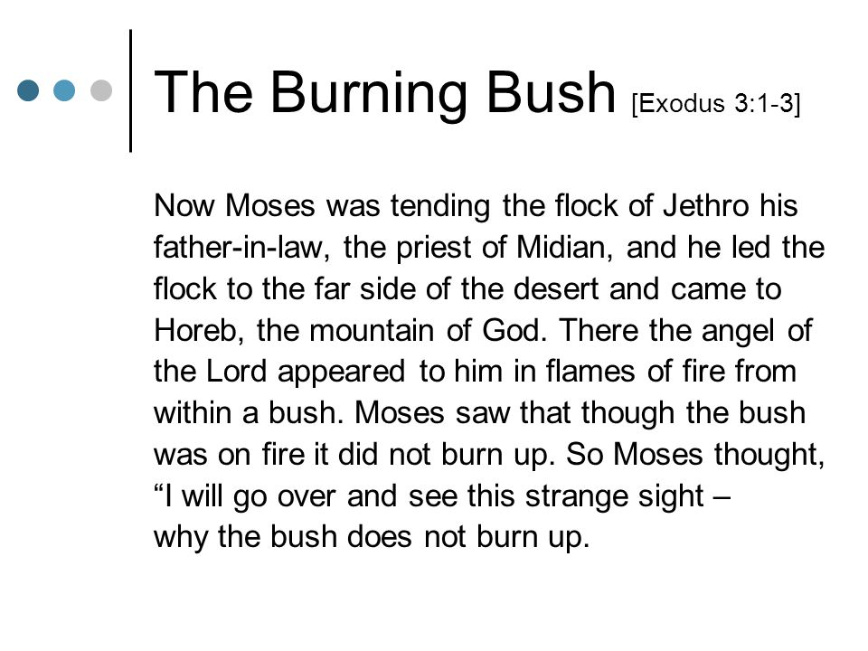 The Burning Bush [Exodus 3:1-3] Now Moses was tending the flock of Jethro his father-in-law, the priest of Midian, and he led the flock to the far sid