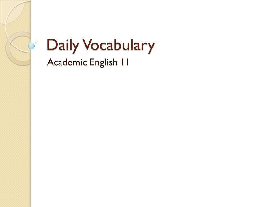 Daily Vocabulary Academic English 11
