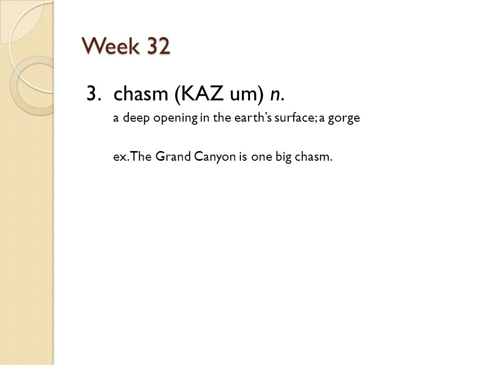 Week 32 3. chasm (KAZ um) n. a deep opening in the earth's surface; a gorge ex.