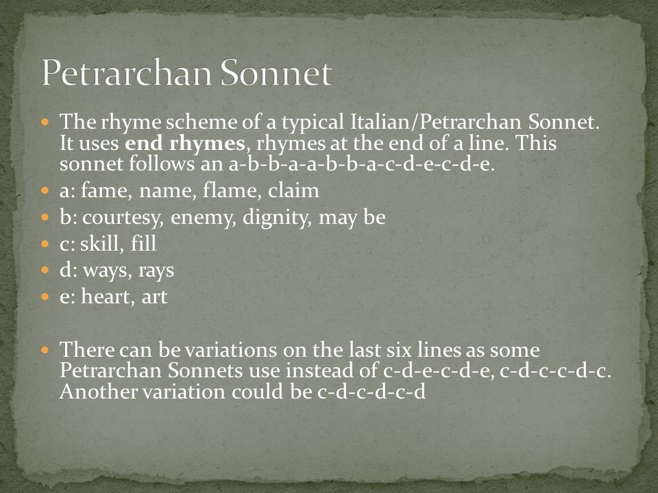 The rhyme scheme of a typical Italian/Petrarchan Sonnet.
