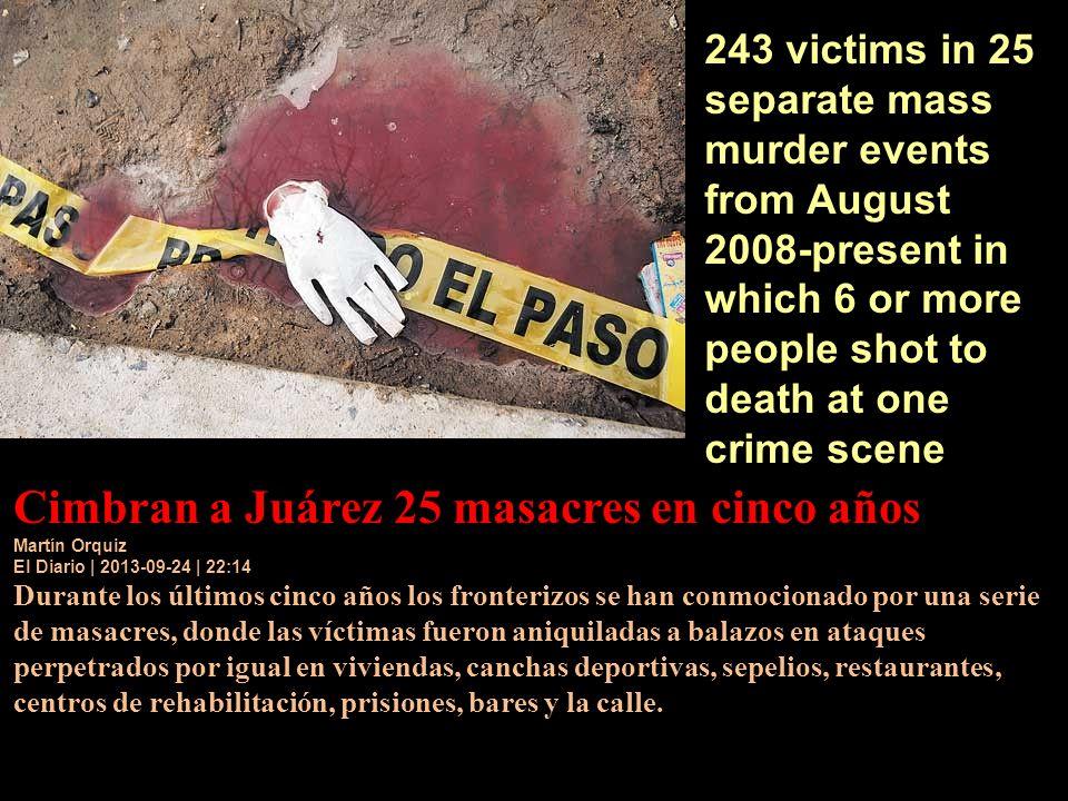 Cimbran a Juárez 25 masacres en cinco años Martín Orquiz El Diario | 2013-09-24 | 22:14 Durante los últimos cinco años los fronterizos se han conmocio