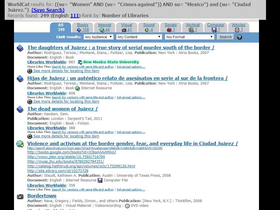 WorldCat results for: ((su= Women AND (su= Crimes against )) AND su= Mexico ) and (su= Ciudad Juárez. ).