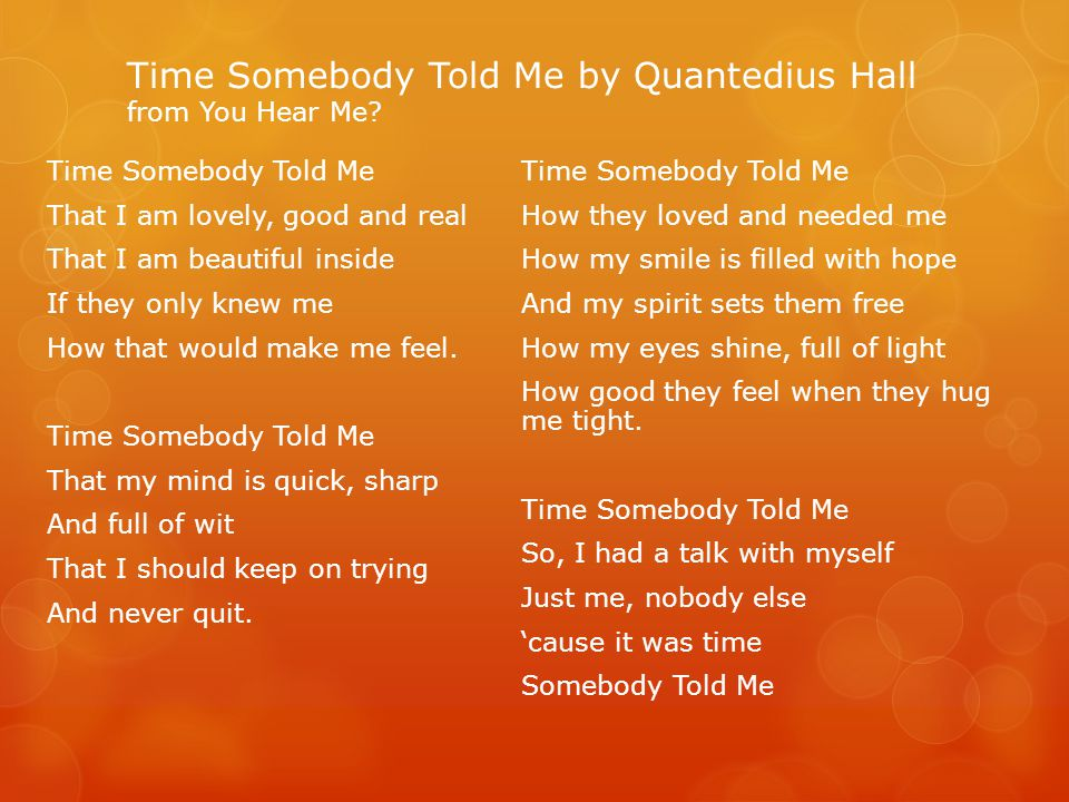Time Somebody Told Me by Quantedius Hall from You Hear Me.
