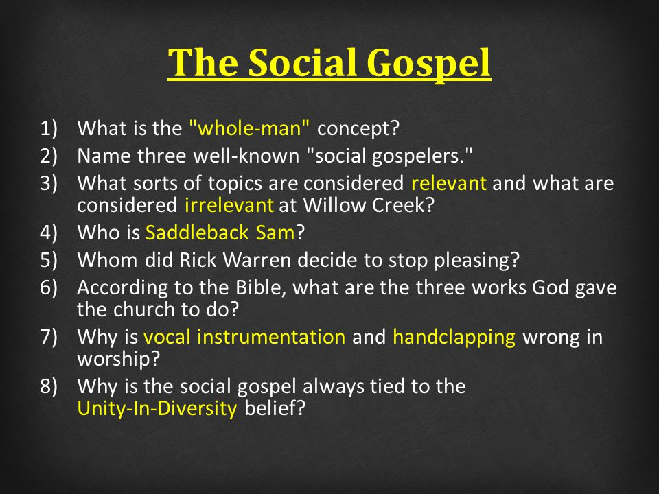 The Social Gospel Galatians 1:6-10 6 I marvel that you are turning away so soon from Him who called you in the grace of Christ, to a different gospel, 7 which is not another; but there are some who trouble you and want to pervert the gospel of Christ.