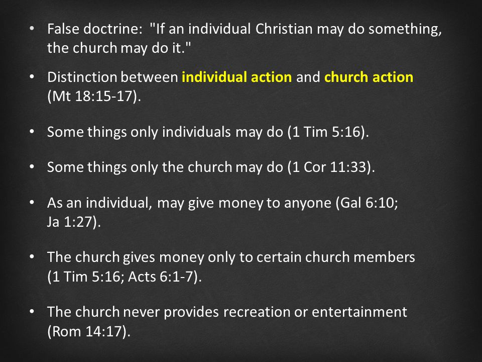 Distinction between individual action and church action (Mt 18:15-17).
