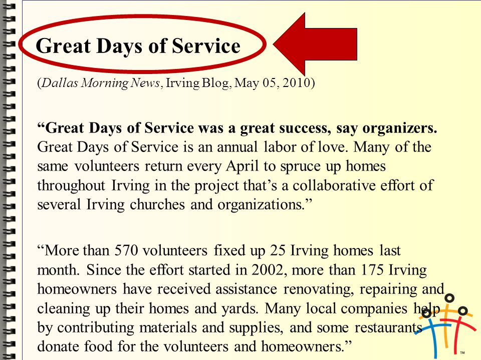 (Dallas Morning News, Irving Blog, May 05, 2010) Great Days of Service was a great success, say organizers.