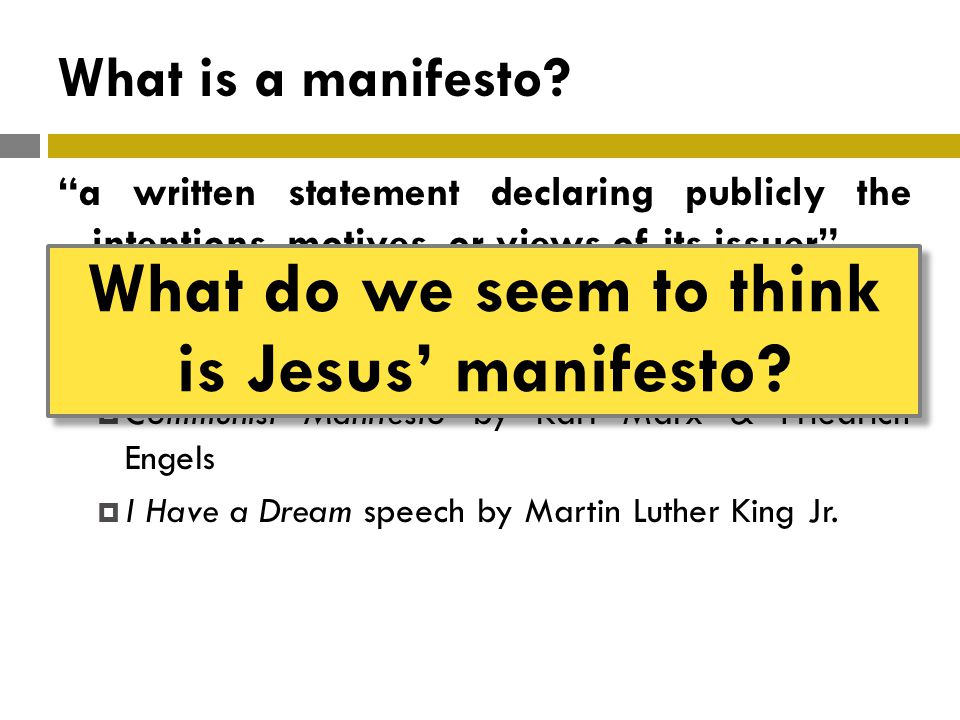 What is a manifesto.