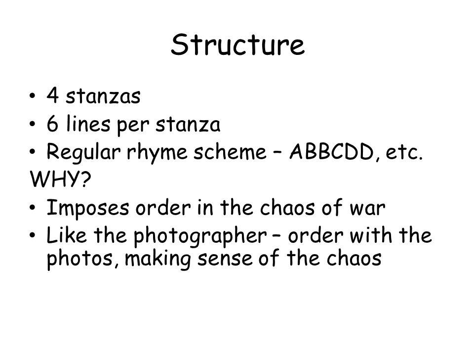 Structure 4 stanzas 6 lines per stanza Regular rhyme scheme – ABBCDD, etc.