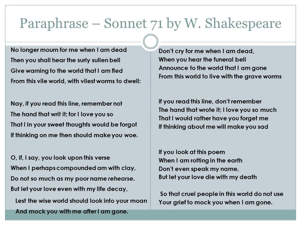 Paraphrase – Sonnet 71 by W. Shakespeare No longer mourn for me when I am dead Then you shall hear the surly sullen bell Give warning to the world tha