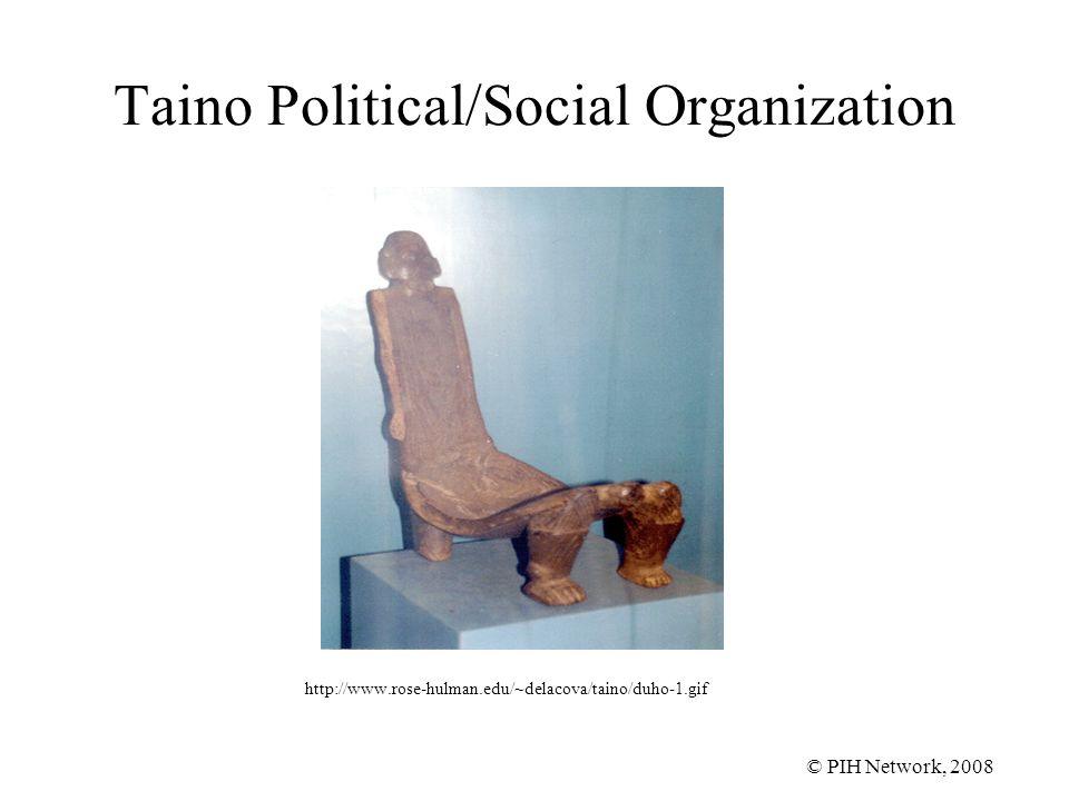 © PIH Network, 2008 Taino Political/Social Organization http://www.rose-hulman.edu/~delacova/taino/duho-1.gif