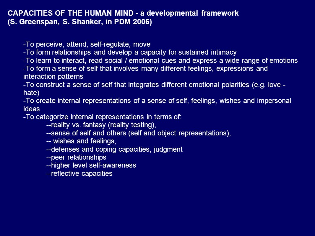 CAPACITIES OF THE HUMAN MIND - a developmental framework (S.