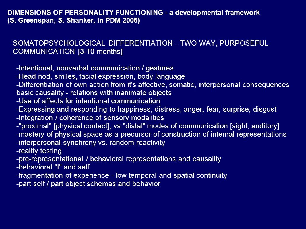 DIMENSIONS OF PERSONALITY FUNCTIONING - a developmental framework (S.