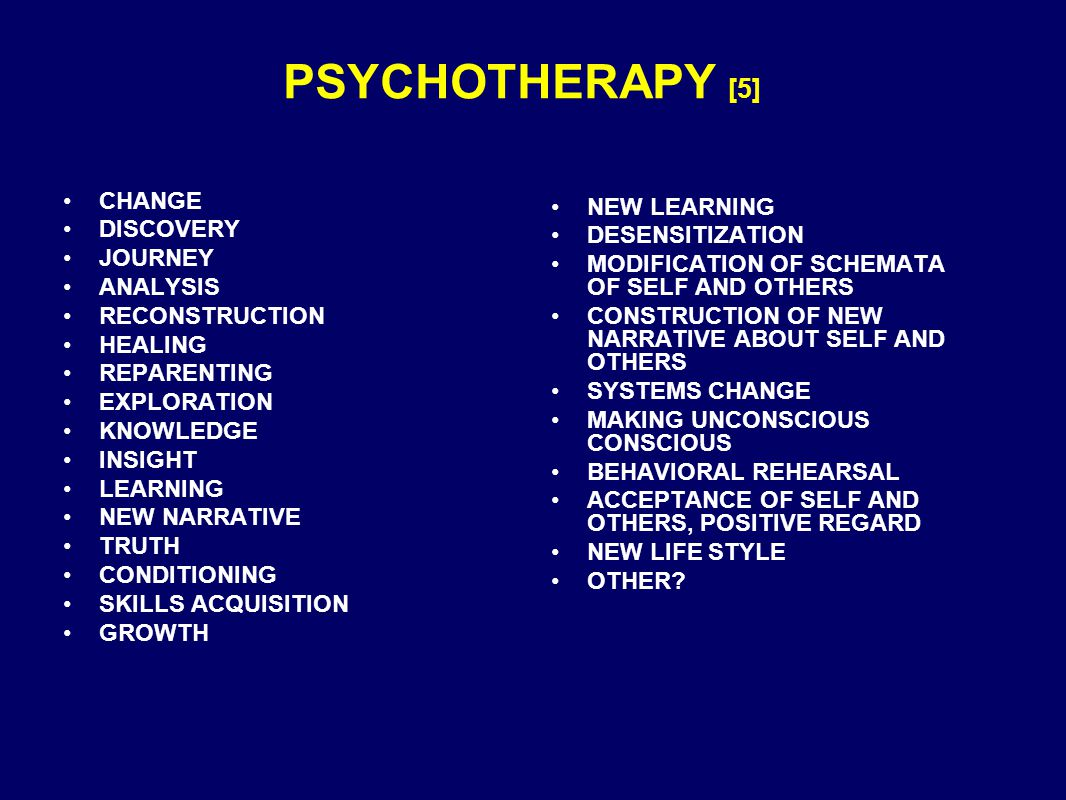 PSYCHOTHERAPY [5] CHANGE DISCOVERY JOURNEY ANALYSIS RECONSTRUCTION HEALING REPARENTING EXPLORATION KNOWLEDGE INSIGHT LEARNING NEW NARRATIVE TRUTH CONDITIONING SKILLS ACQUISITION GROWTH NEW LEARNING DESENSITIZATION MODIFICATION OF SCHEMATA OF SELF AND OTHERS CONSTRUCTION OF NEW NARRATIVE ABOUT SELF AND OTHERS SYSTEMS CHANGE MAKING UNCONSCIOUS CONSCIOUS BEHAVIORAL REHEARSAL ACCEPTANCE OF SELF AND OTHERS, POSITIVE REGARD NEW LIFE STYLE OTHER?