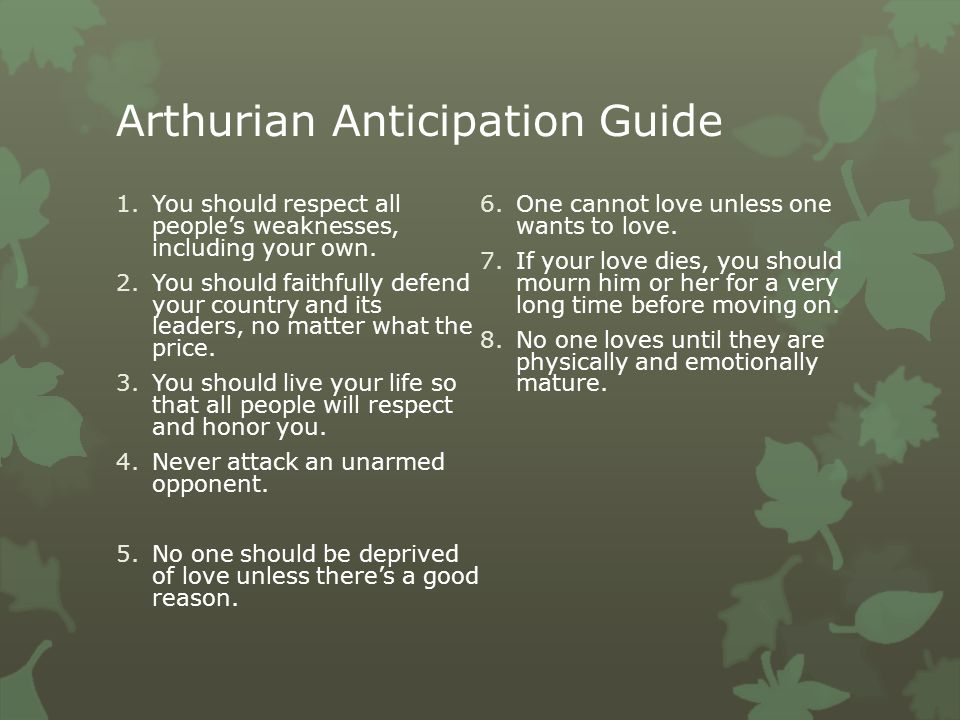 Arthurian Anticipation Guide 1.You should respect all people's weaknesses, including your own.